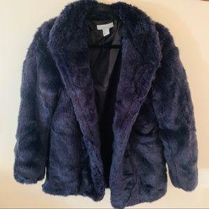 H & M Blue/Purple Fur Coat